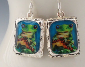 Frog Earrings Picture Jewelry 3D Dimensional Bright Silver Green Blue Multicolored