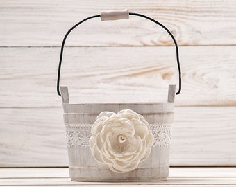 Flower Girl Basket, Ivory Flower Girl Basket, Wedding Basket, Rustic Flower Basket, Wood Flower Basket, Flower Bearer Basket, Bridal Basket