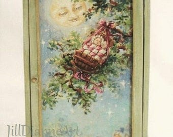 45% off Special- Pink or Green Hand-painted original art -Rock-a-Bye Baby Armoire - Moon - Made to Order - Jill Dianne Dollhouse Miniatures