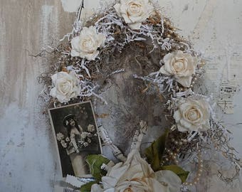 Handmade halo wreath French Nordic white painted twigs moss millinery ivory white roses for hanging or table home decor anita spero design