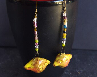Earrings birds Yellow canary dangle Multicolor seed bead Nature jewelry Spring fashion Cute animal
