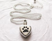 Pet Memorial Necklace, Pet Urn Necklace, Cremation Urn, Dog Cat Paw Print, Pet Loss, Pet Ashes Jewelry, Stainless Steel & Sterling Silver