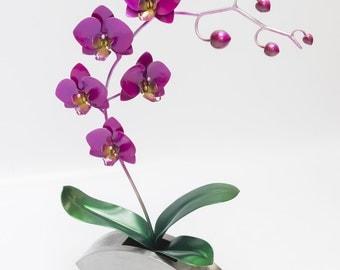 "Phalaenopsis Orchid ""Moth Orchid"" Purple. Metal Sculpture, Art, Flower Sculpture"