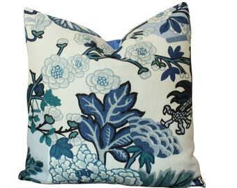 Schumacher Chiang Mai Dragon Pillow Cover in China Blue- Lanterns and Flowers