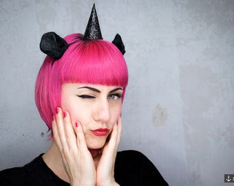 Hair Circlet *Black Unicorn* - Fascinator | Festival and Party Accessory
