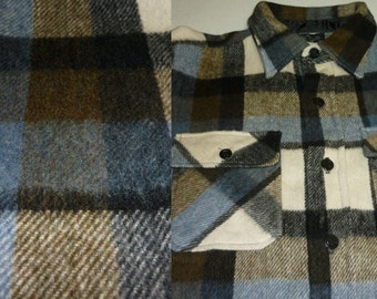 NOS / 1960s CPO Shirt / L / Anchor Button / CPO Jacket / Wool / Flannel Shirt / Plaid Shirt / Work Shirt / Vintage 1960s Shirt / 1970s Shirt