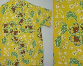 1940s Hawaiian Shirt / XL / Shaheen's / 1950s Hawaiian Shirt / Floral / Aloha Shirt / Vintage 1950s Mens Clothing / Tiki Shirt / Rockabilly