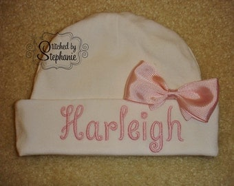 Custom personalized monogrammed personalized name white newborn baby hat with pink bow