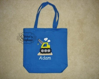 Custom embroidered personalized boys bulldozer construction crane canvas blue tote bag with name