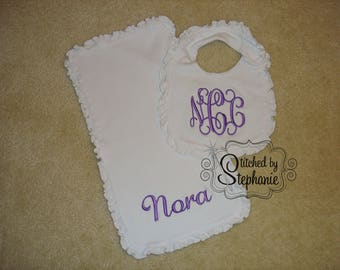 Monogrammed purple on white ruffled bib and burp cloth 3 initial or name personalized baby shower gift set