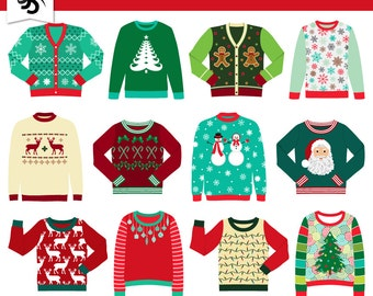 Digital Clipart-Ugly Christmas Sweaters-Tacky Sweater-Holiday Clipart-Christmas-Holiday Party-Scrapbooking-Instant Download Clip Art
