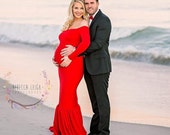 Amy Fitted Maternity Gown with Skirt and Sleeves, Fitted Maternity Dress, Shower Dress, Bridal Gown