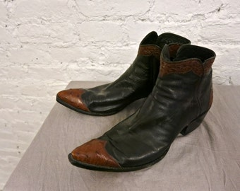 80s Lucchese Custom Made Leather and Ostrich Ankle Boots - Size 9.5