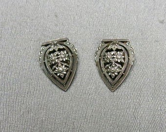 30s Pair of Sterling Silver and Marcasite Dress Clips