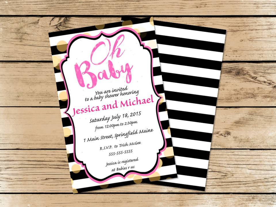 oh baby! pink black white and gold baby shower invitations | party, Baby shower invitations