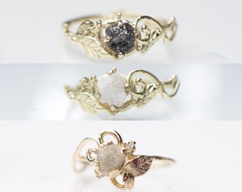 Custom Choose Your Own Design Nature Inspired Gold Twig Ring White Black Rough Uncut Raw Diamond 14K 585 Engagement Swirl Leaves Leaf Twig