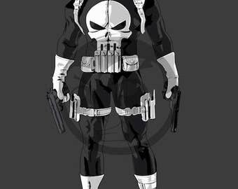 The Punisher Art Print, Marvel Comics, Superhero, Fan Art, 16x23 Poster Print
