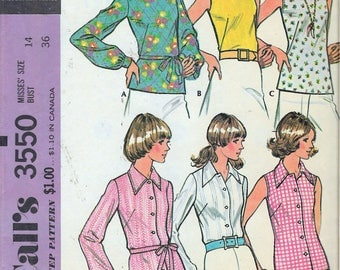 """Vintage 1973 McCall's 3550 Retro Set of Blouses Sewing Pattern Size 14 Bust 36"""" UNCUT"""