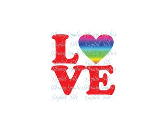 Rainbow Love Digital File Clip Art PNG SVG JPG Pdf Rainbow Heart red letters