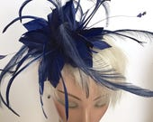 Kentucky Derby Royal Blue Fascinator Derby Hat Red Coral