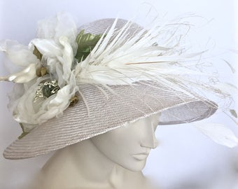 Kentucky Derby White Hat  White Derby Cloche Hat
