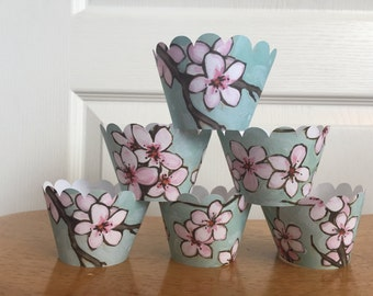 Cherry Blossom Watercolor Cupcake Wrappers set of 12 Ready to Ship
