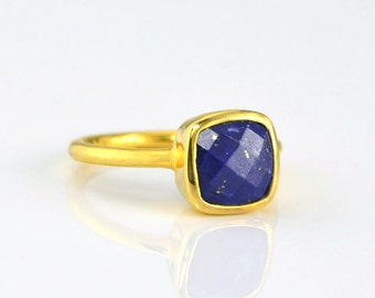 Lapis Ring, September Birthstone Ring, Gemstone Ring, Stacking Ring Gold Ring Cushion Ring Christmas gifts for her Christmas gift for friend