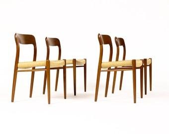 Danish Modern / Mid Century Teak Dining Chairs — J.L. Moller Model #75 — Danish Rope seats — Set of Four