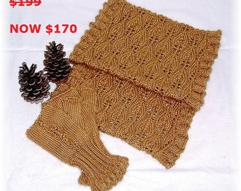 """MOTHER'S DAY SALE: Infinity Scarf and Fingerless Mittens-Set """"Eden Island"""", hand knit in soft Baby Alpaca-Silk blend"""