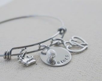 Sisters - Hand Stamped - Adjustable - Bracelet - Choice of Charms - Pearls - Crystals