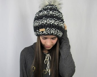 FLASH SALE Black and Pepper Striped Whitaker Beanie by Morthunder