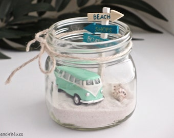 VW Bus Van / Summer Home Decor / Gift for Her / GREEN Beach Car in a Jar / Mason Jar / Table Decor / Beach Scene / Beach Home  / DIY