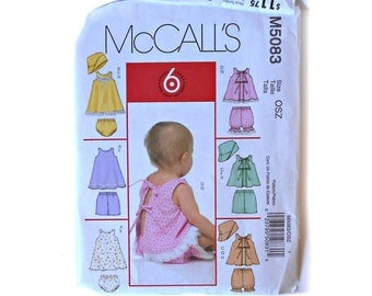 McCall's 5083 Pattern 6 Great Looks Infants dresses Tops Panties Shorts Bloomers Hat One Sizes M L XL