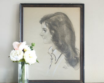 Vintage Portrait 1975 Charcoal Drawing Young Girl Profile