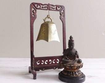 Vintage Brass Temple Bell on Wooden Stand
