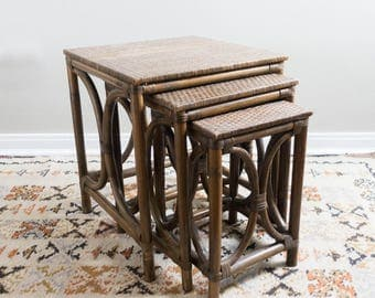 Vintage Rattan Nesting Tables