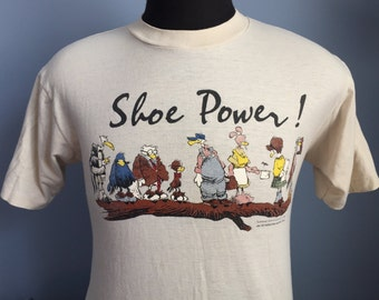 80s Vintage Shoe Power! 1985 comic strip T-Shirt - MEDIUM