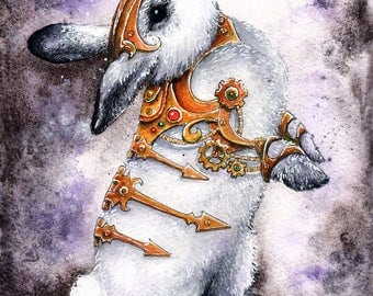 Gilded Constraints: Fine Art Watercolour Steampunk Bunny Print