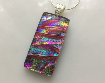Dichroic Glass Rainbow Pendant, Fused Glass Jewelry, Red Turquoise Dichroic Pendant