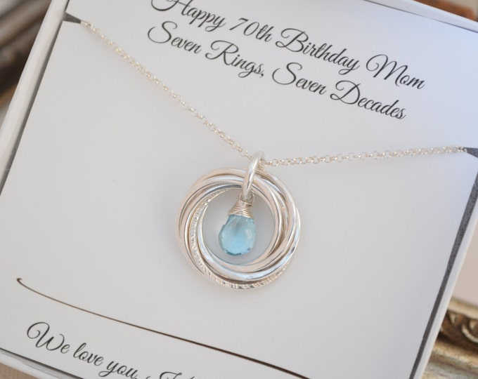 70th Birthday gift for mom and grandma, December birthstone necklace, 7th Anniversary gift for wife, Blue topaz jewelry, Gifts for mother