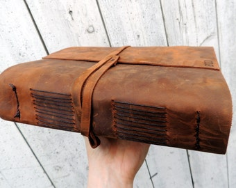 Large leather Journal - Leather artists journal / rustic wedding guestbook / gifts for her / gifts for him