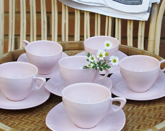 Set of Six Pale Pink Midwinter Modern Metamex Melamine Tea Cups and Saucers