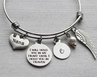 Nana - I Will Hold You In My Heart Until I Hold You In Heaven Bangle Bracelet, Memorial Gifts, Memorial Bracelet, Nana Sympathy, Nana Loss