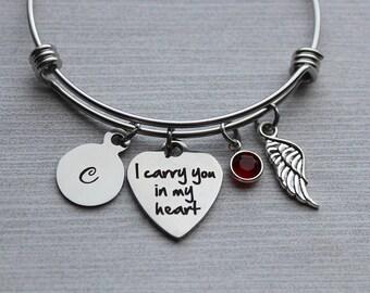 I Carry You In My Heart Bracelet, Memorial Jewelry, Memorial Gifts, Sympathy Gifts, Sympathy Jewelry, Remembrance Jewelry, Remembrance Gifts