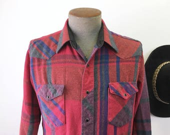 Vintage WRANGLER Western Shirt Men's Wool Cowboy Style Red Plaid Long Sleeve Shirt with Black Pearl Snaps by WRANGLER - Size MEDIUM