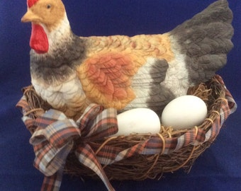 Porcelain Chicken with Eggs in Basket
