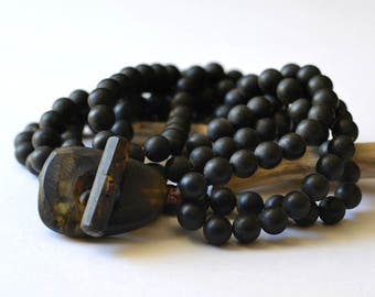 Black Amber Necklace, Amber Jewelry, Amber Gift, Black Necklace, Modern Jewelry, Women gift ideas, Geometric jewelry, black bead necklace