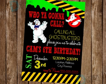 Ghostbusters Invitation - Ghostbusters Birthday -  Ghostbusters Party - Ghostbusters Invite - Slime Birthday Party - Ghost Busters Party