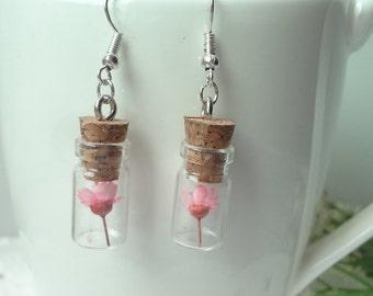 flowers bottle hay series glass earrings 0243