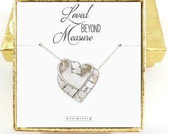 Tape Measure Necklace, Measuring Tape, Couples Necklace, Loved Beyond Measure Girlfriend Gift, Mothers You Are Loved Memorial Quote